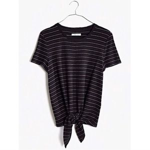 Madewell Texture Thread Modern Tie Front Top Shirt